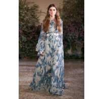 Long dress con fantasia blu Luisa Beccaria