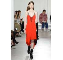 Lingerie dress rosso e nero Olivier Theyskens